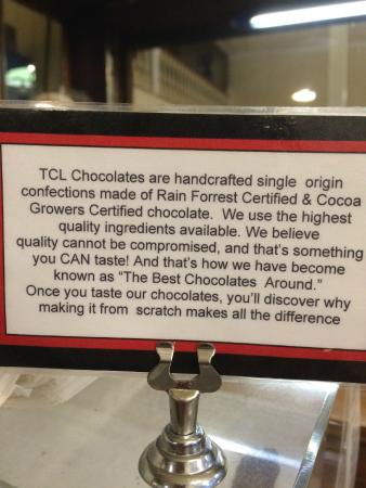 Angels Camp, Kaliforniya: TCL chocolates made in house - good quality candy