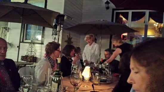 Joelles French Bistro: Joelle greeting members of the NRPCA club at May 7 dinner