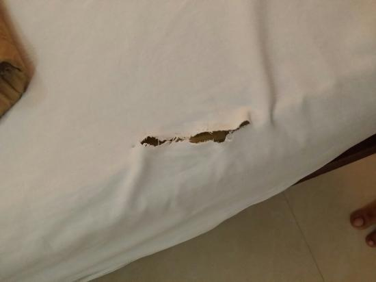 Alleppey Prince Hotel: Broken latch, not closing bath room door , useless plug point and torn bed sheets