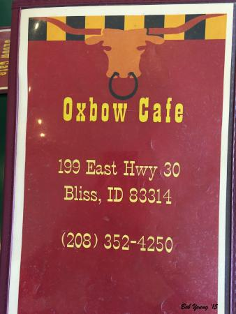 Oxbow Diner: Oxbow Cafe menu cover.