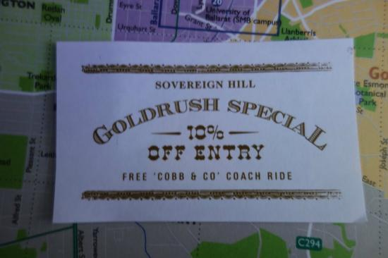 Discount coupons sovereign hill