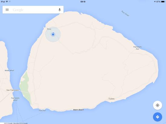 My Little Island Hotel: Actual location. Head for Esperanza on Poro island and ignore Google directions