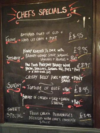 Polbathic, UK: The daily specials board
