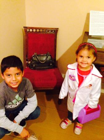 Cozens Ranch House Museum: Doc Susie's medical bag and a young lady that may follow in her footsteps.