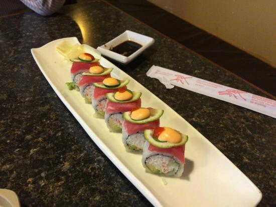 Ninja Japanese Steakhouse: Corona roll; spicy tuna, jalapeño slice, lime slice, etc