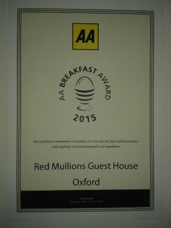 Red Mullions: Breakfast Award by AA 2015