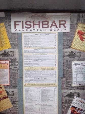 Posted menu outside fotograf a de fishbar manhattan beach for Fish bar manhattan beach menu