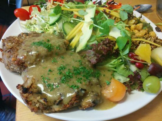 The Green Way Cafe: Mushroom and Hazelnut Patties with a wholegrain mustard sauce, main meal size