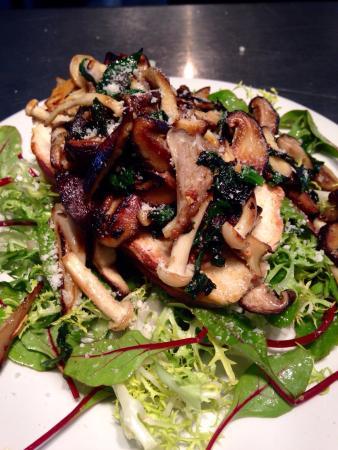 No. 9 On the Green: Garlic wild mushrooms on bloomer toasted bread.