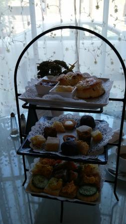 The Ploughcroft Tea Room: The three tiered tea option with pretty much one of everything. can share this with 2 or 3