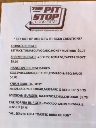 new Burgers @ The Pit Stop