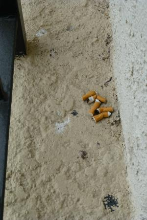 Embassy Suites by Hilton Temecula Valley Wine Country: Cigaret butts on wall between our balcony and next balcony, never cleaned during our stay.