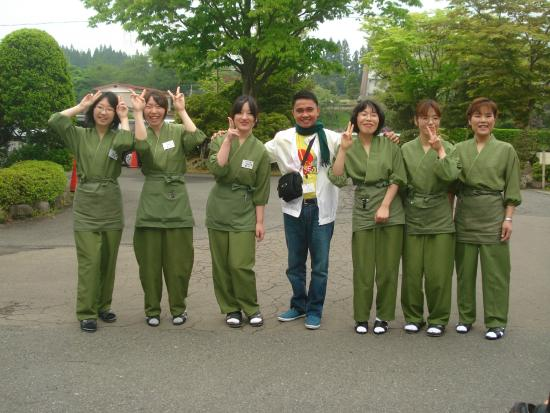 Itsukushien: With the Hotel Staff at Ichinoseki City, Iwate Prefecture, Japan. Photo taken: May 2012.