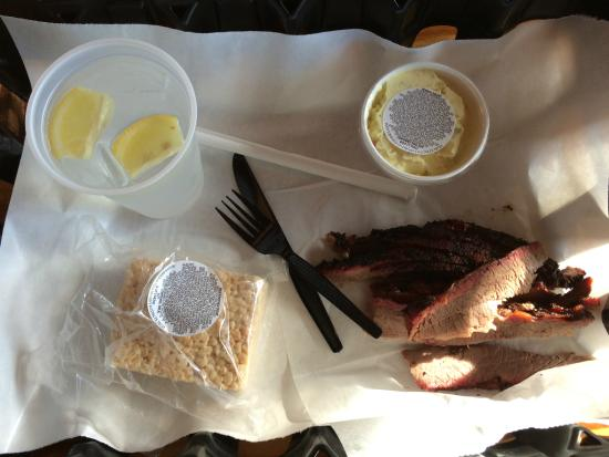 Rudy's: My meal at Rudys-rice krispy treat, lean brisket, yummy potato salad and water w/lemon