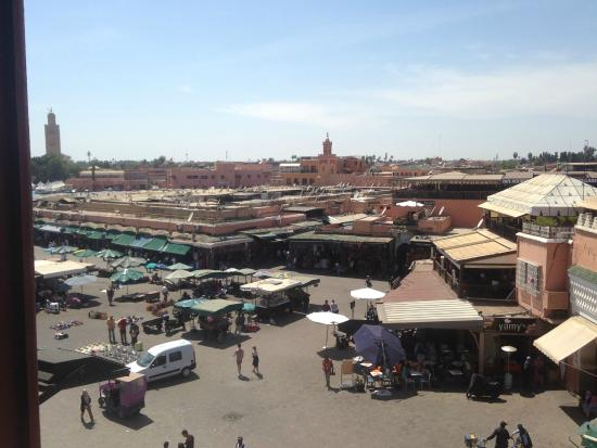 Dar Salam: The main market square at day time (from a roof top of a cafe)