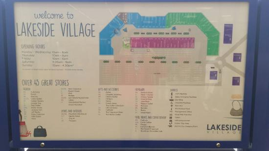 Lakeside Retail Park Map Lakeside Village Map   Picture of Lakeside Village Outlet