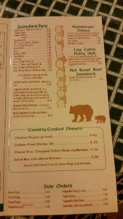menu picture of log cabin pancake house gatlinburg