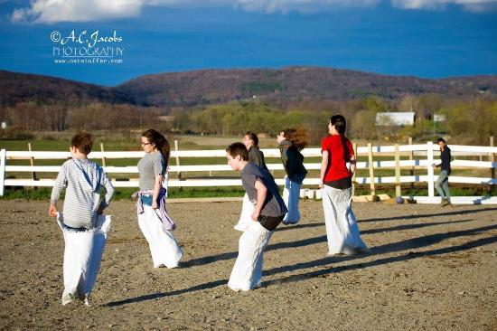 Painted Bar Stables: Sack races at the 2015 Open Farm & Barn