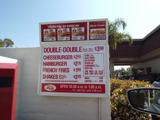 In And Out Prices >> Menu Board Prices As Of April 2015 Picture Of In N Out Burger