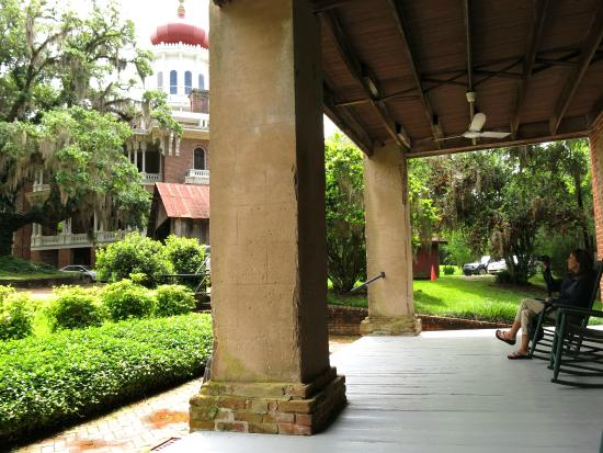 Natchez, MS: View up toward the Longwood main house from the carriage house.