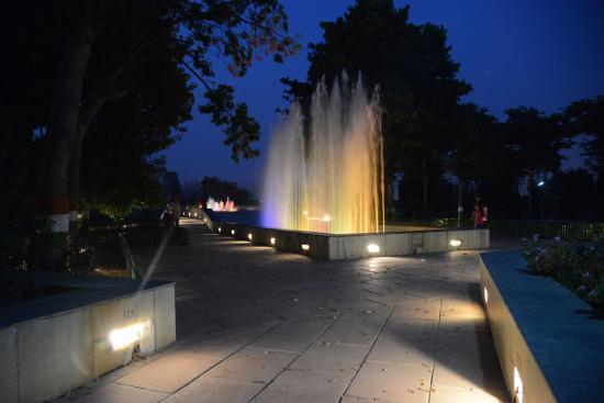 Kalindi Kunj: Illuminated fountain