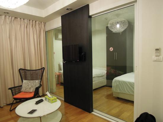 Urban House: Studio - View of sliding glass door that goes into bedroom