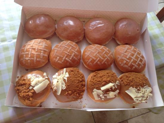 Krispy Kreme Doughnuts: My favs - raspberry, biscotti and apple pie