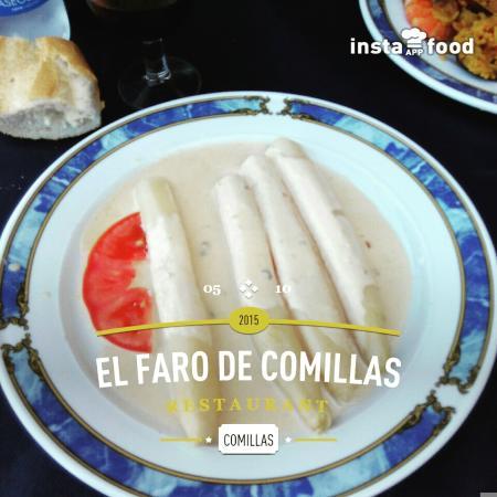 Faro de Comillas: Esparragos con salsa de queso