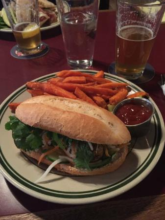Little Apple Brewing Company: Housemade chicken sausage banh mi with sweet potato fries