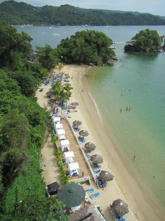View of beach, including cabanas