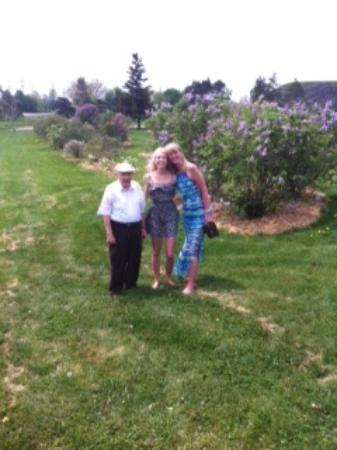 Centennial Lilac Garden: George with my daughter and me in his lilac garden!