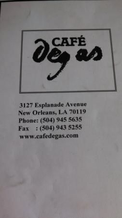 Cafe Degas: photo of menu