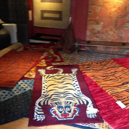 Todenham, UK: Tiger rugs at the Alain Rouveure galleries