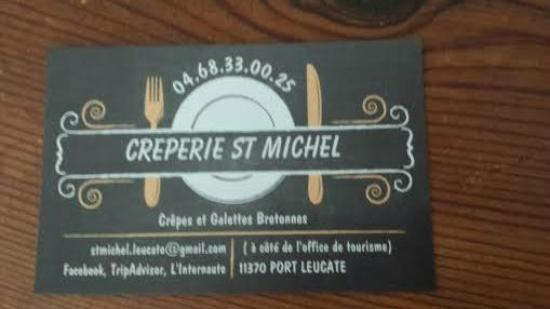 Creperie Saint Michel Carte Visite De La ST MICHEL