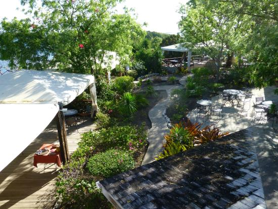 Harmony Hall Antigua: View of Dining areas from Tower
