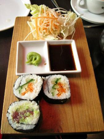 Chantek: Tuna and Veggie Sushi with wasabi and soy sauce.