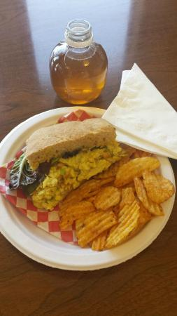 Market Chef: Curried Egg Salad, Bag of Chips, Martenelli's Apple Juice