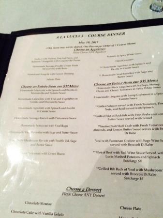 A la Lucia: Three course menu