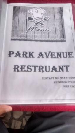 Hotel Park Avenue: menu