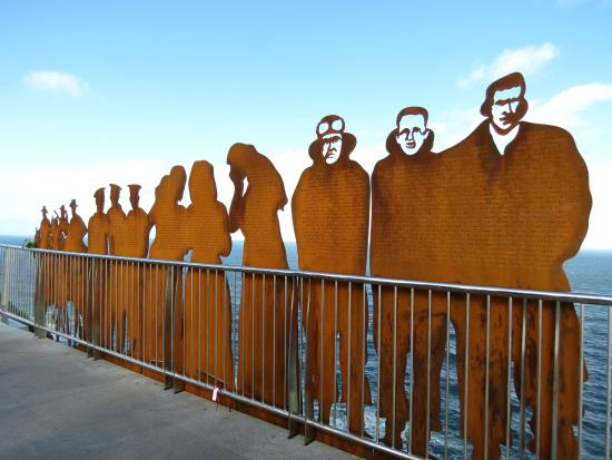 Newcastle, Australia: Some of the steel WW1 memorial cutouts on the new bridge.