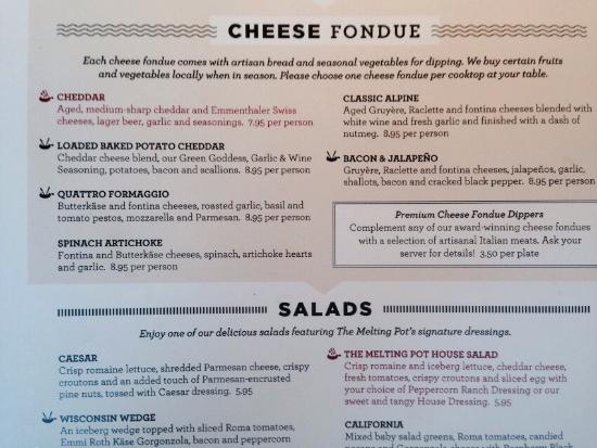 The Melting Pot Cheese Fondue Choices