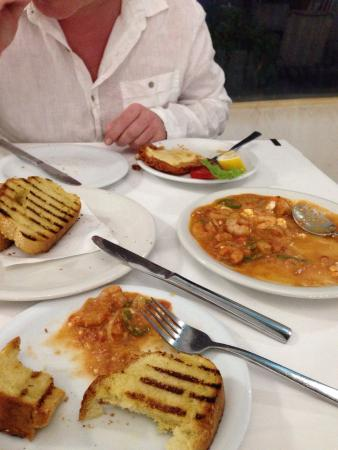Argo: Cheese saganaki, shrimp saganaki and garlic bread delicious :-)