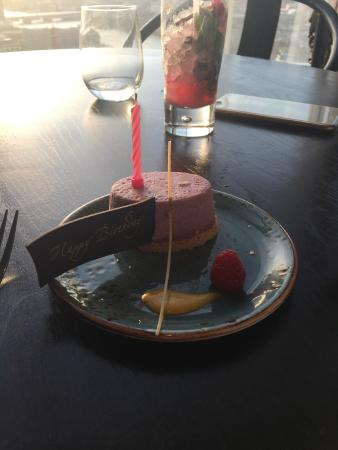 Birthday dessert blueberry cheesecake Picture of Hutong