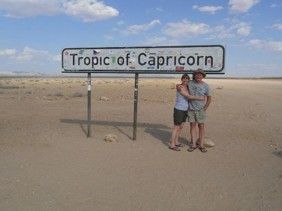 Solitaire, Namibia: The Tropic of Capricorn Sign on the C14 Namibia
