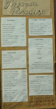 Locanda Paradiso: The menu