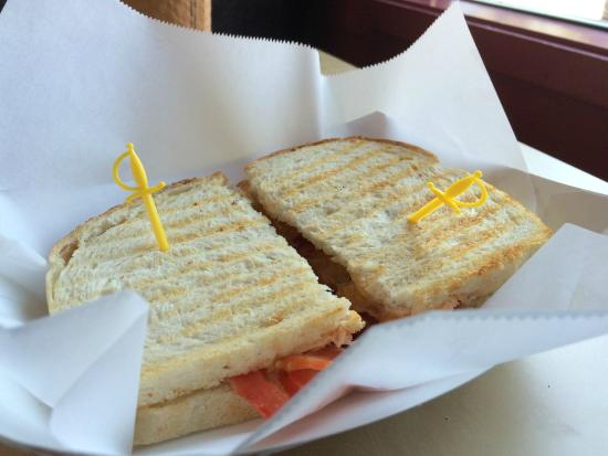 Gear and Grind Cafe: Three arrow down sandwich (without lettuce)