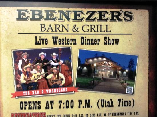 Ebenezer's Barn & Grill : Poster for the Show