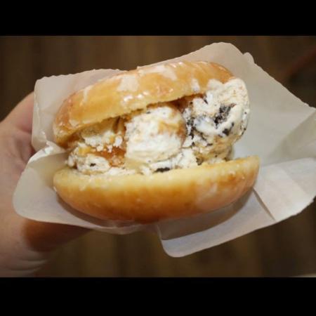Island Ice Cream: Krispy Kreme Doughnut filled with Caramel Cheesecake Cookie Monster Ice Cream