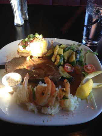 Patrinos Steak House & Lounge: prime rib with rice, shrimp, veggies, and baked potato