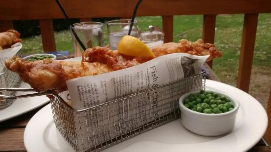 Le Gouffre Cafe and Restaurant: Cod and chips on the balcony